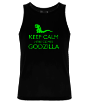Мужская майка Keep Calm here comes Godzilla